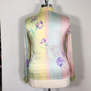 Escada Tops - Escada 18 button down blouse floral script print